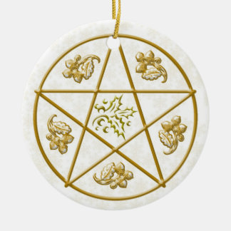 Gold Pentacle, Holly & Oak Christmas Ornament