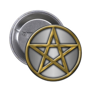 Gold Pentacle on Silver 6 Cm Round Badge
