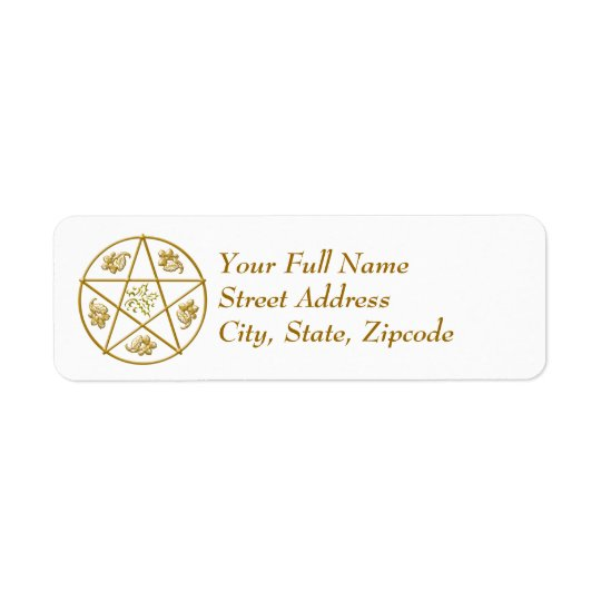 Gold Pentacle with Holly & Oak - Return Label
