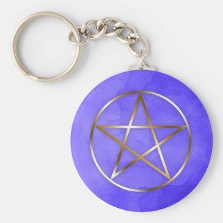 Gold Pentagram Star Occult Key Chain