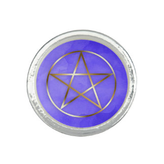Gold Pentagram Star Occult Ring