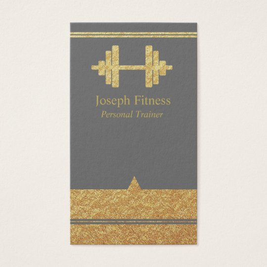 Gold Personal Trainer Fitness Business Card Grey
