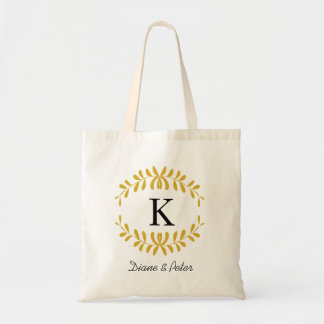 Gold Personalised Monogram Wedding Favour Budget Tote Bag
