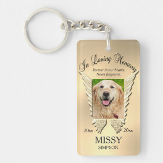 Gold Pet Memorial Double-Sided Rectangular Acrylic Key Ring