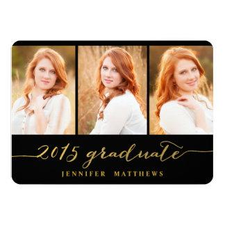 Gold Photo Collage Graduation Party Invitation