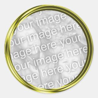 gold photo frame classic round sticker