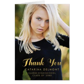 Gold Photo Graduation Thank You Card