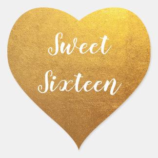 Gold Photo Sweet Sixteen Heart Sticker