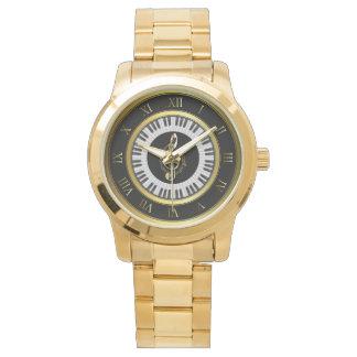 gold piano circle music note bracelet watch