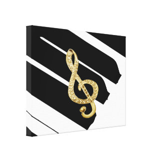 Gold Piano Gclef symbol Canvas Prints