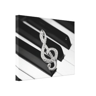 Gold Piano Gclef symbol Stretched Canvas Print