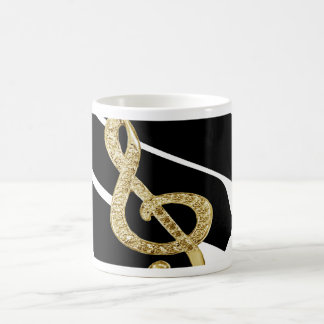 Gold Piano gclef Symbols Basic White Mug