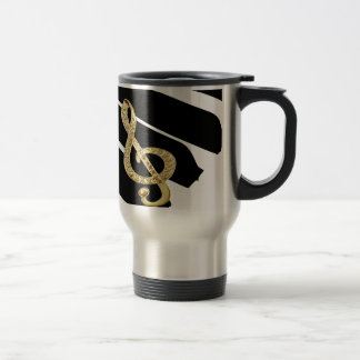 Gold Piano gclef Symbols Stainless Steel Travel Mug