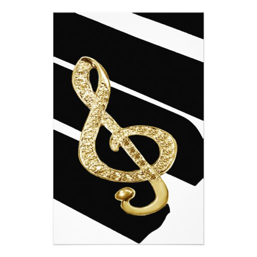 Gold Piano gclef Symbols Stationery
