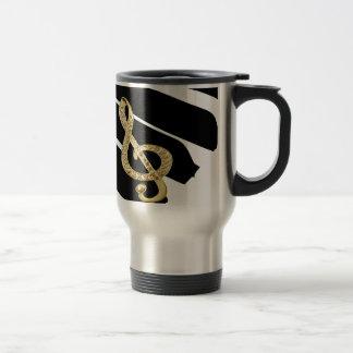 Gold Piano gclef Symbols Travel Mug