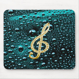 Gold Piano Gclef with rain drop Bakcground Mousepads