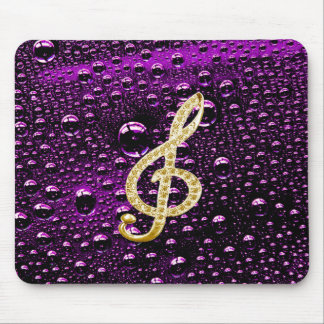 Gold Piano Gclef with rain drop Bakcground Mouse Pad