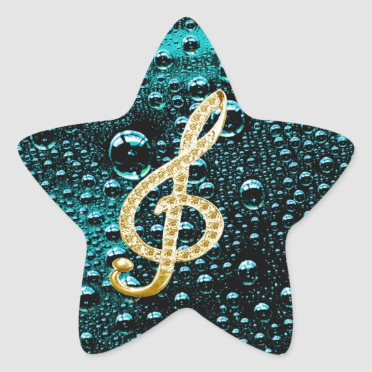 Gold Piano Gclef with rain drop Bakcground Star