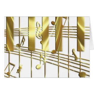 Gold Piano Keyboard Greeting Card