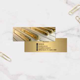 gold piano keys instructor business card