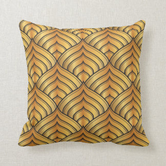 Gold Pine Comb and Black Ink Art Deco Pattern Throw Pillow