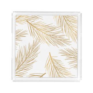 Gold Pine Needles Holiday Acrylic Tray