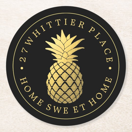 Gold Pineapple | Address With Text Round Paper