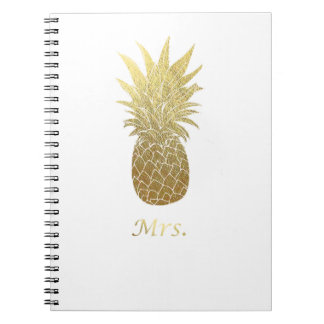 Gold Pineapple Mrs. Notebook