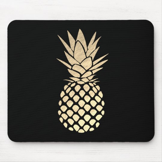 gold pineapple on black mouse mat