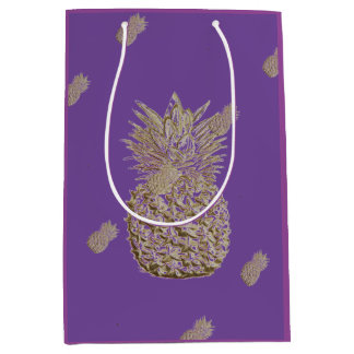 Gold Pineapple on Purple Medium Gift Bag