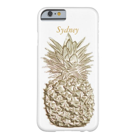 Gold Pineapple Personalised Barely There iPhone 6 Case