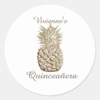 Gold Pineapple Quinceanera Classic Round Sticker