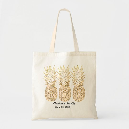Gold Pineapple Wedding Welcome Bag,Wedding Favour Tote Bag