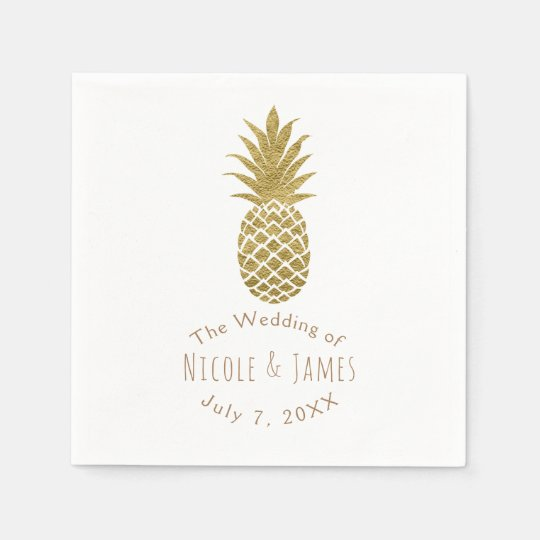 Gold Pineapple White Modern Chic Tropical Party Paper