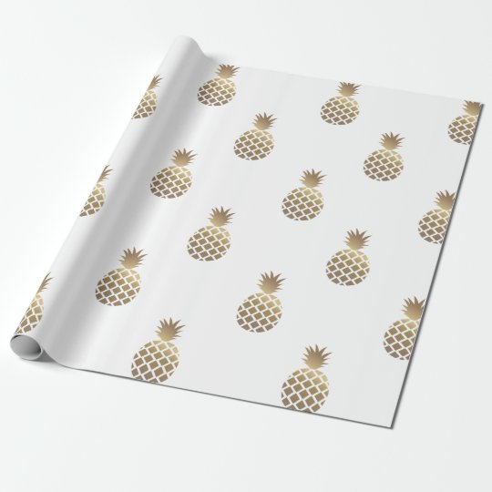 Gold Pineapples Pattern Wrapping Paper White