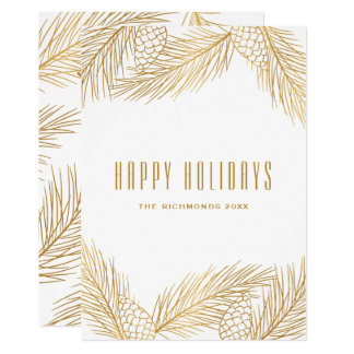 Gold Pinecones and Pine Needles Holiday Card