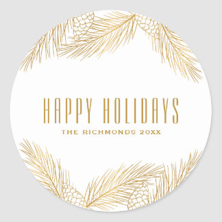 Gold Pinecones and Pine Needles Holiday Sticker
