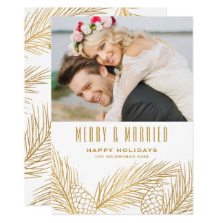 Gold Pinecones and Pine Needles Newlyweds Holiday Card