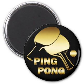 GOLD PING PONG 6 CM ROUND MAGNET