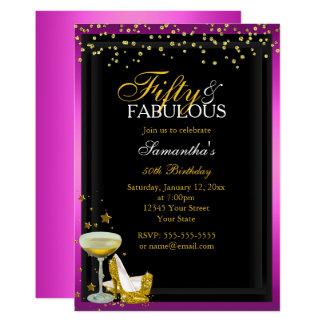 Gold Pink 50 Fabulous Birthday Invitation