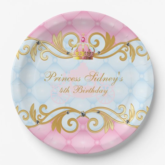 Gold, Pink and Baby Blue Princess Party Paper
