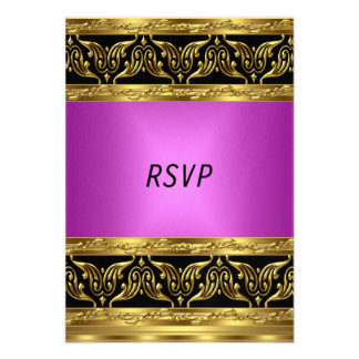 Gold Pink Birthday Party RSVP Custom Invite