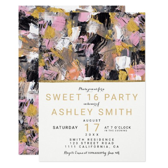 Gold pink black acrylic brushstrokes Sweet 16 Card