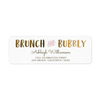 Gold & Pink Brunch & Bubbly Wedding Bridal Shower Return Address Label