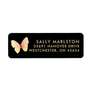Gold & Pink Butterfly Return Address Labels