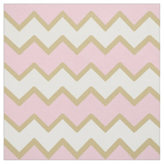Gold Pink Chevron Baby Girl Fabric