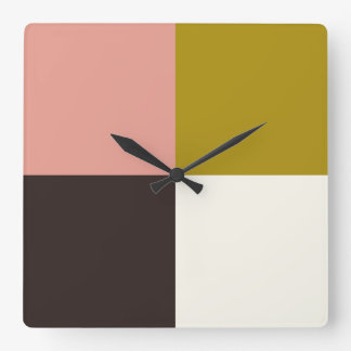 Gold Pink Chocolate Ivory Square Wall Clock