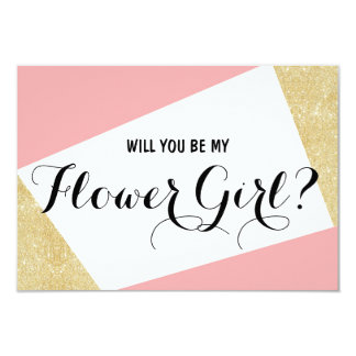 Gold pink color block Will you be my Flower Girl 9 Cm X 13 Cm Invitation Card
