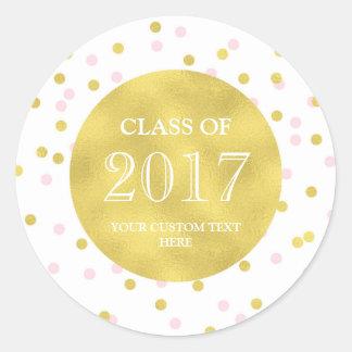 Gold Pink Confetti Graduation Class of 2017 Classic Round Sticker