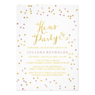 Gold & Pink Confetti Hens Party Invitation